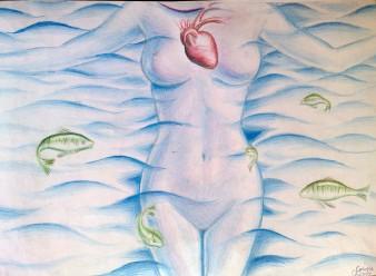 Inima oceanului, desen in creioane colorate