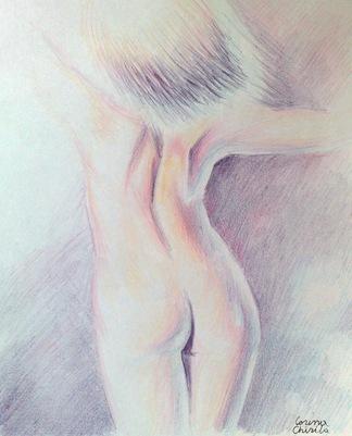 Nud cu spatele desen creioane colorate - Nude woman color pencil drawing