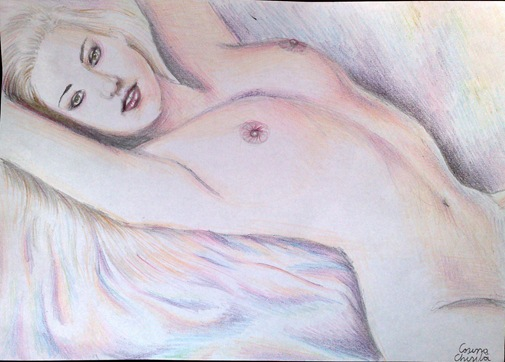 Nud in creioane colorate - Female nude color pencil drawing