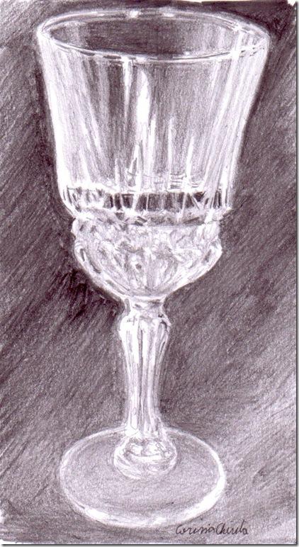 Pahar cu sampanie desen in creion natura statica