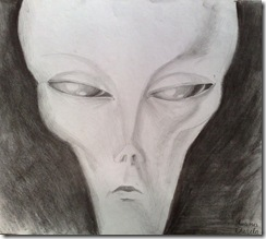 Portret de extraterestru desen in creion - Alien portarait pencil drawing