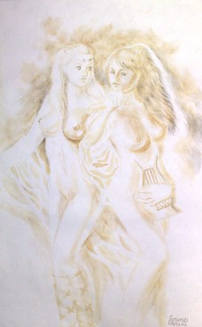 Sappho si una dintre fetele de pe insula Lesbos, pictura facuta cu cafea