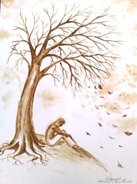 Singuratate si depresie, pictura facuta cu cafea