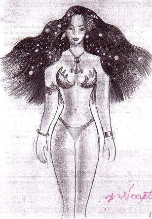 Desen in creion inspiorat din poezia Din parul tau de Lucian Blaga facut in primavara anului 2001
