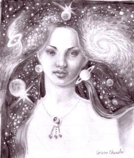 Desen in creion inspirat din poezia Din parul tau de Lucian Blaga