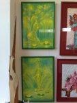 Doua tablouri de primavara in nuante de verde, verdele crud al primaverii expuse in Herastrau la salonul de primavara