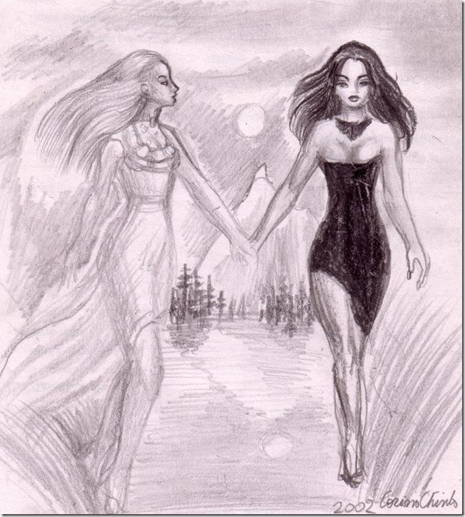 lady in white and lady in black - Femeia in alb si femeia in negru desen in creion