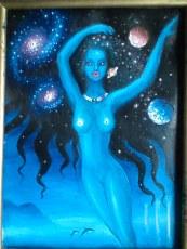 Pictura in ulei pe panza inspirata din poezia Din parul tau de Lucian Blaga, facuta in anul 2004