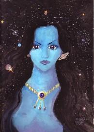 Pictura inspirata din poezia Din parul tau de Lucian Blaga facuta in anul 2000