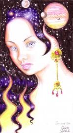Universul din parul ei negru - Desen in pix inspirat din poezia Din parul tau de Lucian Blaga