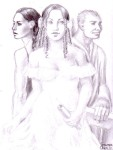 Otilia, Aurica si Titi din romanul Enigma Otiliei, desen in creion