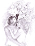 Eu cu iubita din vis si cu copacul cu flori albe, desen in creion