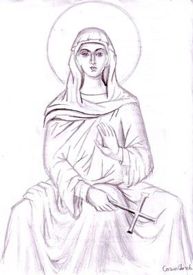 Icoana bizantina icoana in creion sfanta fecioara Maria sau Maica Domnului desen in creion