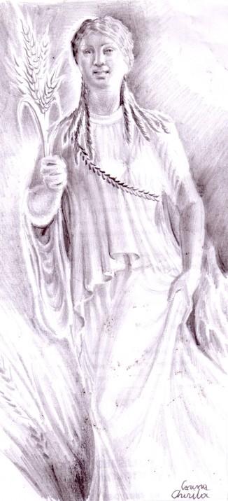 Kore sau o fata din Grecia antica, desen in creion