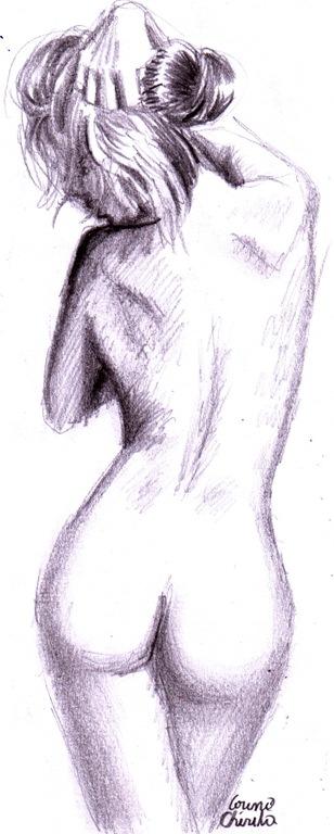 Nud din spate desen in creion