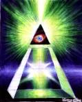Piramida puterii, energia divina de piramida si ochiul  lui Dumnezeu, desen in pix