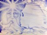 Zamolxis, marele lup alb si sfinxul dacic din Bucegi, desen in pix