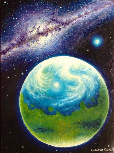 Planeta Marte in trecutul indepartat pe vremea cand exista viata acolo pictura ulei pe panza