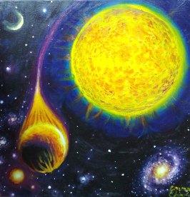 Corot-2b planeta devorata de steaua sa mama, pictura ulei pe panza