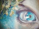 Flori de tei povestea ei sau ochiul albastru al muzei lui Eminescu privind de sub teiul inflorit caer l-a inspirat pe poet, pictura tempera
