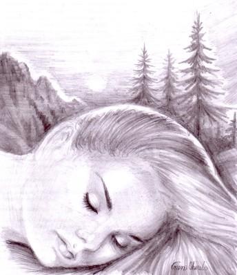 Muza adormita a poeziei Vara de Noiembrie de Lucian Blaga desen in creion