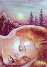 Vara de noiembrie sau muza adormita a poetului Lucian Blaga, pictura tempera