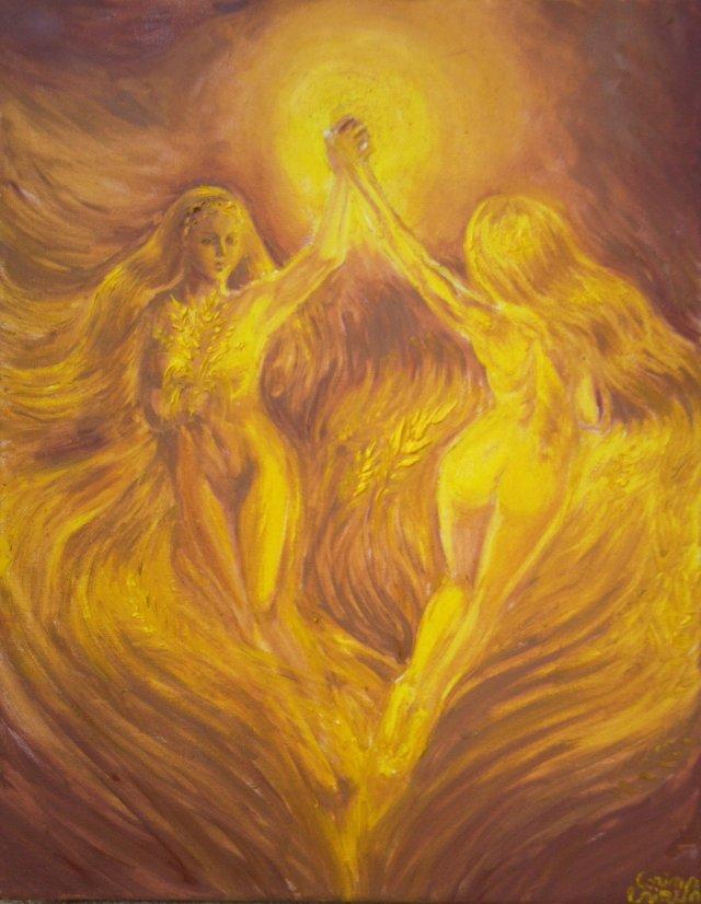 Vis auriu de iubire auriu dansul ielelor sau campuri aurii pictura ulei pe panza