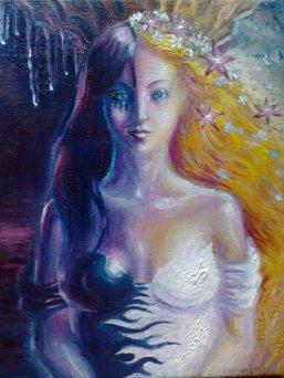 Cele doua fete ale unei zeite din mitologia greaca Kore si Persephona pictura ulei pe panza