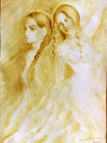 Aurica si Otilia din romanul Enigma Otiliei, pictura facuta doar cu cafea