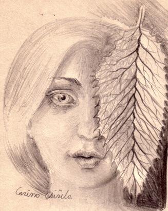 Fata cu frunza desen in creion