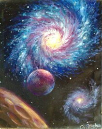 Galaxie pictura ulei pe panza - Galaxy oil on canvas painting
