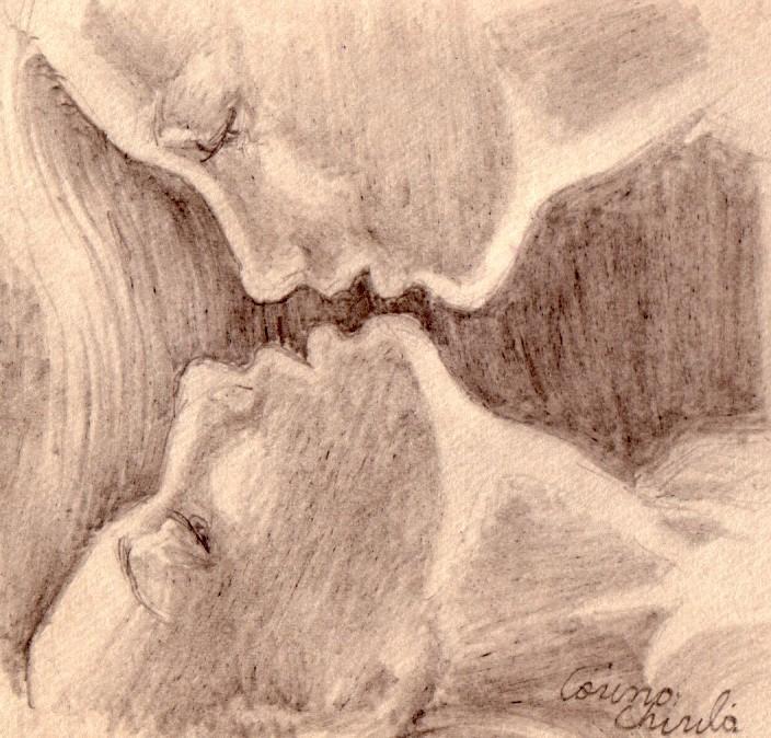 Iubire, afectiune, tandrete, desen in creion