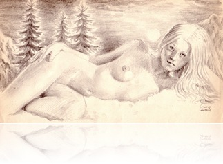 Nu in decor montan, desen in creion - nude woman with mountains, pencil drawing
