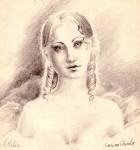 Otilia Marculescu din romanul Enigma Otiliei, desen in creion