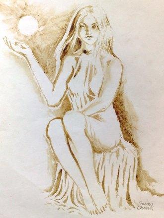 Persephona Pictura facuta cu cafea