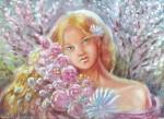 Pictura de primavara in tempera  portret de fata cu flori
