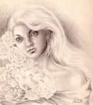 Portret de fata cu trandafiri albi, desen in creion