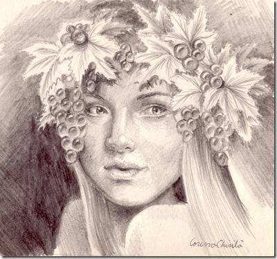 Portret de toamna cu struguri desen in creion