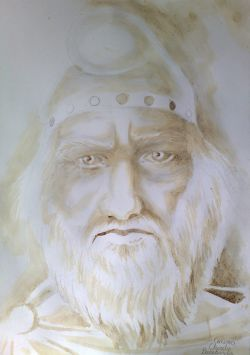 Portretul lui Burebista pictat cu cafea
