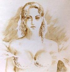 Portretul Otiliei Marculescu pictat cu cafea