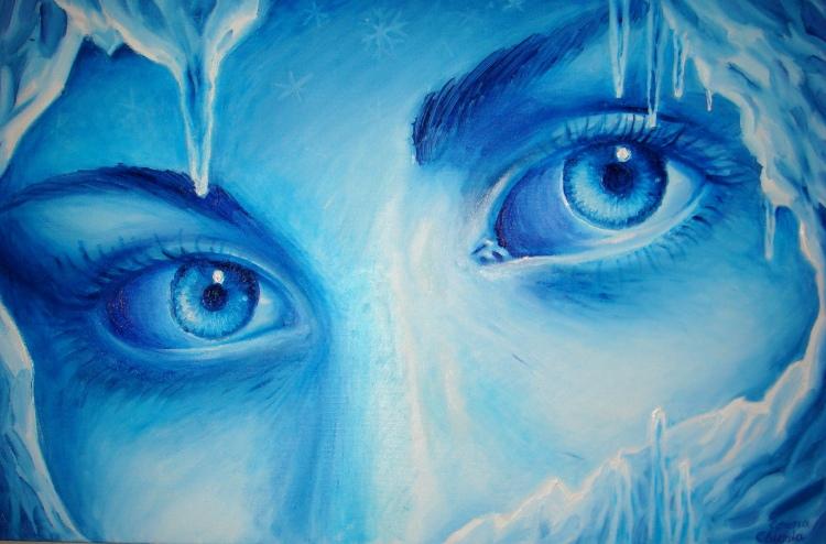 Privirea rece a iernii pictura de iarna  ulei pe panza