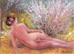 Anotimpuri - Nud in pe frunze de toamna privind florile primaverii si toamna pictura tempera