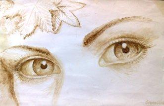 Doi ochi caprui - Pictura facuta cu cafea