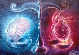 Inima si creierul in balanta ratiune vs sentiment pictura ulei pe panza
