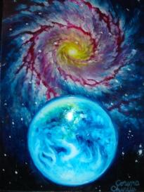 Pamantul si o galaxie, pictura pe sticla