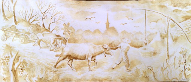 Toamna satului romanesc, pictura facuta cu cafea