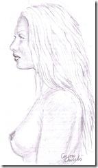 femeie din profil desen in creion - woman pencil drawing