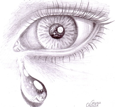 lacrimi desen in creion - tears pencil drawing