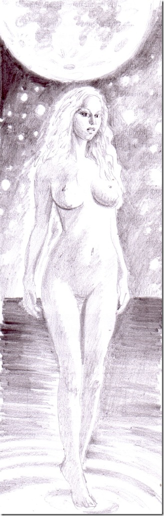 nud in lumina lunii desen in creion - nude girl in the moonlight pencil drawing
