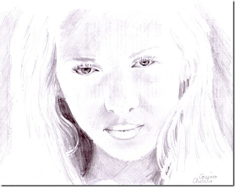 Portret de fata desenat in creion - girl pencil portrait drawing